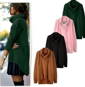 Модерен дамски пуловер с висока яка в два  цвята