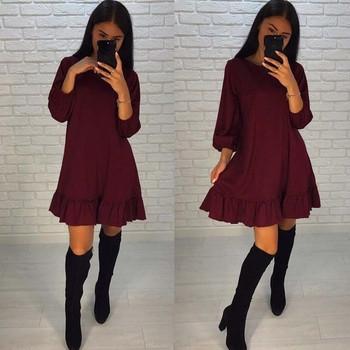 Γυναικείο φόρεμα με μακριά μανίκια σε κόκκινο, μαύρο και μπεζ χρώμα