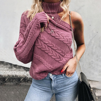 НОВ дамски пуловер с поло яка и един ръкав-два цвята