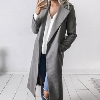 Стилно дълго тънко дамско палто в пет цвята
