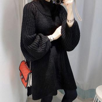 Дамски издължен пуловер с висока яка тип поло - 2 цвята