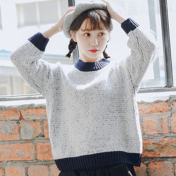 Ежедневен дамски пуловер с О-образна яка в 3 цвята