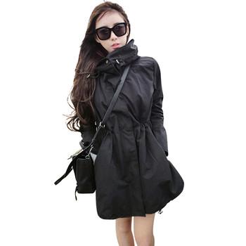 Μακρύ  γυναικείο  μπουφάν με ψηλό γιακά και κουκούλα