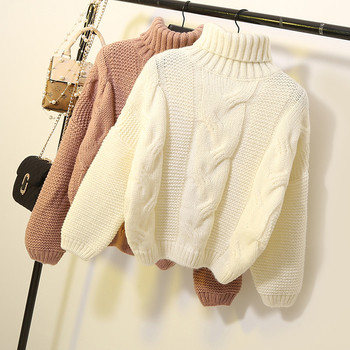 Дамски пуловер с висока яка тип поло - няколко цвята