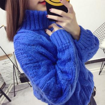 Дамски пуловер с висока яка тип поло - 4 цвята