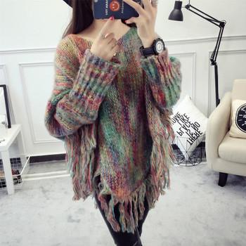 Дамски пуловер с ресни - 2 цвята