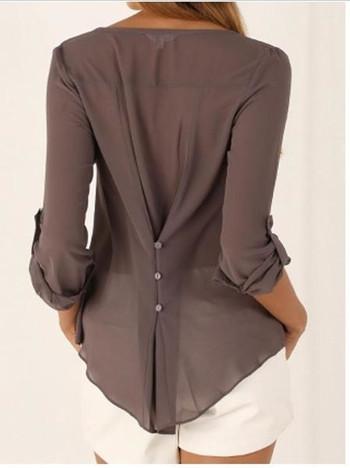 Ежедневна дамска блуза с V-образно деколте в няколко цвята