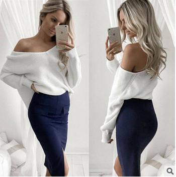 Стилен дамски пуловер с отворени рамене в няколко цвята