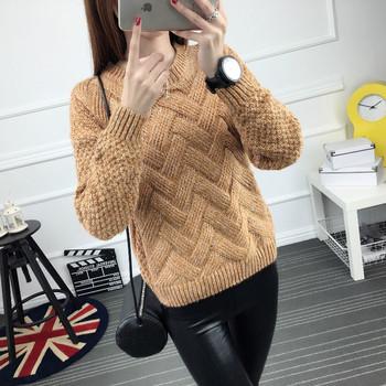 Дамски ежедневен пуловер с О-образна яка в няколко цвята