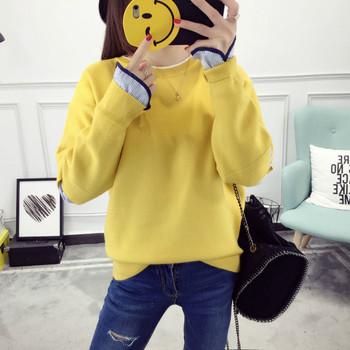 Ежедневен дамски пуловер с О-образна яка - различни цветове