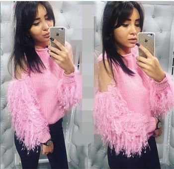 Дамски елегантен пуловер с прозрачен ръкав - няколко цвята