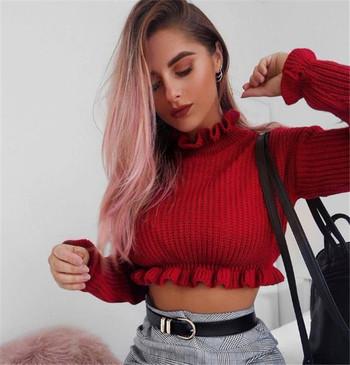 Дамски къс пуловер с висока яка тип поло - 2 цвята