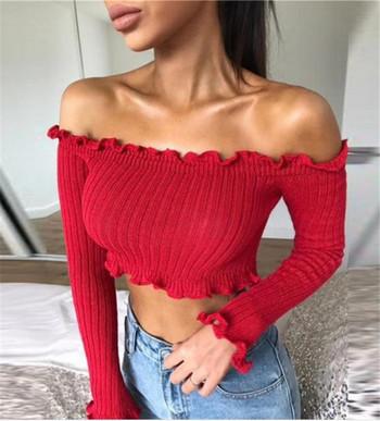 Дамски къс пуловер с отворени рамене - няколко цвята