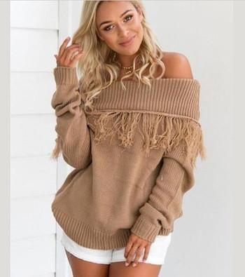 Дамски пуловер с отворени рамене и ресни в 2 цвята
