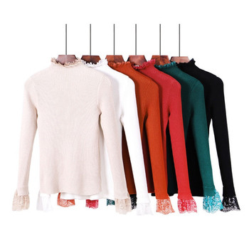 Дамски пуловер с поло яка и дантела - няколко цвята