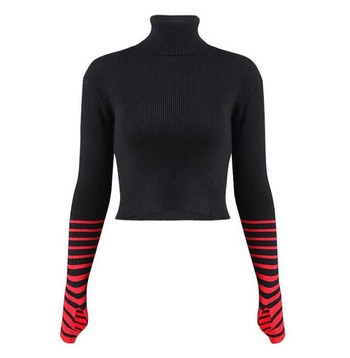 Дамски модерен пуловер с поло яка в два цвята